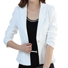 2017 New fashion women elegant white black blazer OL Suit Blazer Casual Jacket Coat Tops long sleeve outerwear notched pocket(China)