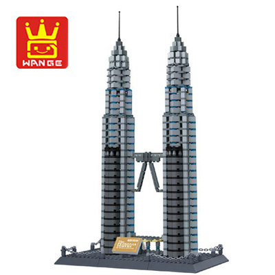 Wange 8011 New Famous Architecture series The Kuala Lampur Petronas Tower 3D Model Building Blocks Classic Toys for children<br>
