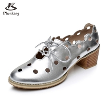 Genuine leather big woman shoes US size 9.5 designer vintage High heels round toe handmade silver pumps 2017 sping oxford shoes