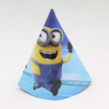 Minnions Caps 10pcs High 20cm/diameter 14cm cartoon hat for kids birthday party decoration paper cocked hat/cap