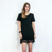 Women Lace Hem T-Shirt Dress O Neck Short Sleeve Summer Dress Scalloped Straight Casual Mini Shift Dress Black Vestiti Donna