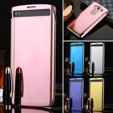 LANCASE For LG V10 G4 G5 Accessories Luxury Clear Smart View Window Plating Mirror Flip Leather Phone Cases For LG V10 Case H968(China)