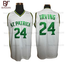 BONJEAN Cheap Kyrie Irving 24 St. Patrick High School White Basketball Jersey Throwback Sewn Shirt Any Size Free Shipping(China)