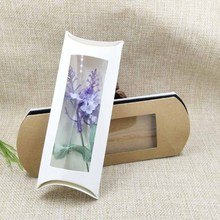 20 pc 16*7*2.4cm white/black/kraft paper pillow box package with clear pvc window for proucts/gifts/favors/display packing(China)