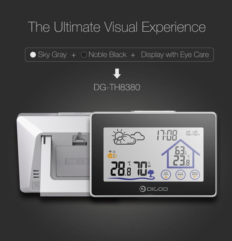 Digoo DG-TH8380 Wireless Touch Screen Weather Station Thermometer Outdoor Forecast Sensor Clock