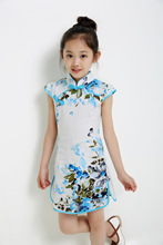 Baby Girl Summer Dress Chinese Style Cheongsam Big Floral Princess Tang Dynasty Girls Dresses Kids Clothes Size 110-160CM(China)