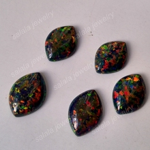 50pcs/lot   Free Shipping  10x14 mm op32  synthetic Black Fire  Opal  Marquise Cabochon  Opal Stone