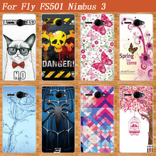Popular Cover For Fly Nimbus 3 FS501 Colorful Printing Case Flower Tree Cup etc. Stylish Fashion Case For FLY FS501 Nimbus 3