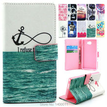 Cartoon Design Magnetic Holster Stand Flip Leather Cover Case with Card Holder For Sony Xperia M2 S50H cell phone cases Caque