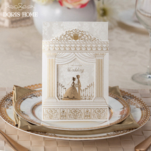Fashion Wedding invitation Cards,Gold foiling frame church style wedding invitations Suppliers, 12 PCS/lot, BH1118(China)