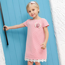 Baby Girls Dress 2017 Summer Brand Dresses for Girls Lace Party Princess Dress Rose Flower Kids Costumes 2-10Y(China)