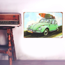 European Retro style green car board sign Wall stickers metal iron crafts pictures Furnishing articles painting draw bar house(China)