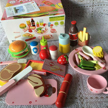 Children Simulation wooden food Western lunch/western dinner, Kids Kitchen Toys Set Assembly scale models Hamburg etc.