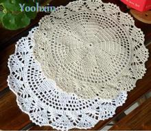 HOT cotton placemat cup coaster mug holder kitchen accessory handmade table place mat cloth lace round drink Crochet doilies pad