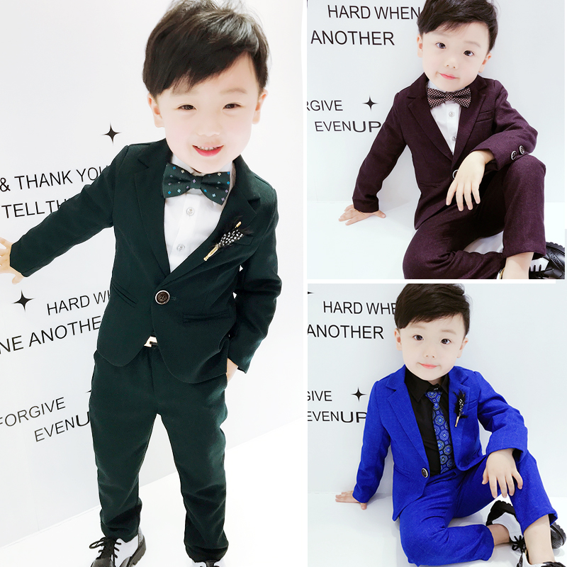 new 2018 spring boys dress suits for wedding boys clothing sets birthdays kids blazer+pant+necktie+tie set 4pcs boys clothing<br>