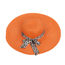 Orange Summer Exquisite Leopard Ribbon Bowknot Decorated Openwork Sun Hat For Women