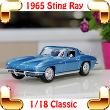 New Year Gift 1965 Sting Ray 1/18 Metal Model Car Classic Roadster Alloy Collection Vehicle Decoration Simulation Toys(China)