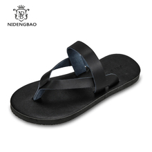 2017 Men's flip flops PU leather Slippers Summer fashion beach sandals shoes for men pantufa Hot Sell Shoes Men Sandals(China)