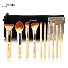 Jessup Brand 10pcs Beauty Bamboo Professional Makeup Brushes Set T136  & Cosmetics Bags Women Bag CB001