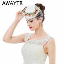 AWAYTR Hair Accessories Women Jewelry European Style Cocktail Wedding Headpiece Lady Headwear White Hat Clips Fascinator Hat(China)