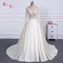 Jark Tozr 100% Real Photo Full Sleeve China Bridal Gowns Pearls Beading Crystal Light Champagne France Satin Wedding Dress 2018(China)