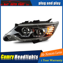 Auto part Style LED Head Lamp for Toyota Camry led headlights 2015 for Camry drl H7 hid  Bi-Xenon Lens angel eye low beam