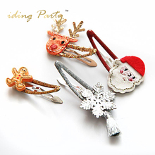iDing Girls Christmas Headwear Set Santa Claus Reindeer Gingerbread Man Snowflake Barrette Christmas Party Gift Hairpin ZBYP34A(China)