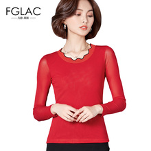 Buy FGLAC Women t-shirt Fashion Casual long sleeved O-Neck Mesh tops Elegant Slim Autumn tees plus size women clothing for $9.70 in AliExpress store