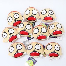 10 pcs/lot Anime Rick and Morty Plush Key Chains Ring Toys Happy face plush pendants toy gifts 9*9cm(China)