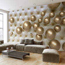 Custom Wall Mural Wallpaper European Style 3D Stereoscopic Golden Ball Soft Pack Imitation Leather Photo Wallpaper Living Room(China)