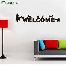 Maruoxuan Welcome Letter English Character Sign Cats Wall Sticker Shop Window Wall Decals Kids Room Wall Door Decoration(China)