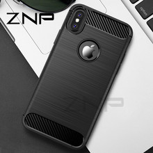 ZNP Anti-Knock Phone Case For iPhone X 8 7 6 6s Plus Cases Luxury Carbon Fiber Soft TPU Full Cover For iphone 6 6s 7 8 X 10 Case(China)