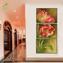Modern 3pcs Tulip Flower Melamine Board Canvas Oil Painting Flower Pictures Landscape Deco Framed Print Living Room Wall Artwork