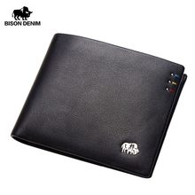 BISON DENIM Business casual wallet Men top Layer Genuine leather purses men short Wallets silver metal Logo N4411-3B(China)