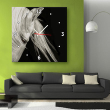 Free Shipping E-HOME White Horse Clock in Canvas 1pcs wall clock