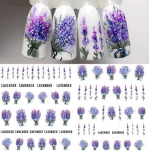 1 Sheet Lavender Flower Water Decals Purple Blooming Water Decals Nail Decorations Water Plastic Nails Transfer Nail Art Design