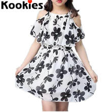 2017 Summer Baby Girls Chiffon Dress White Black Cold Shoulder Floral Dress Girls Summer Dress Children Clothes KDS006