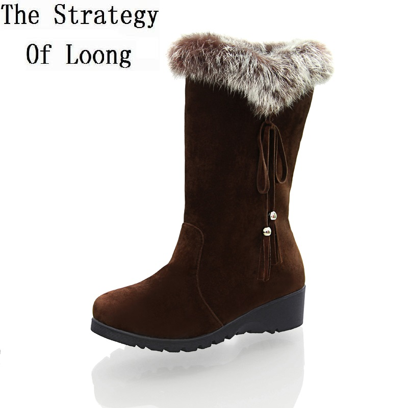 2017 New Arrival Women Suede Winter Wedges Chunky Heel Rabbit Fur Round Toe Lace Up Fashion Warm Snow Boots Size 34-40 SXQ0812<br>
