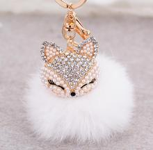 Jewelry NO1 lovely crystal fox rabbit fur keychains women trinkets suspension on bags car key chain keyrings toy gifts llaveros