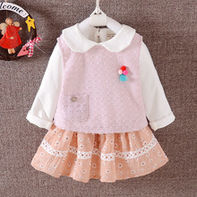new girl vest t-shirt skirt 3 pcs sets 2017 spring Kids cotton gauze suit small children clothing 1-2-3-4 years old D018(China)