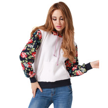 New Retro Flowers Spell Color Long Sleeve Hooded Sweatshirt Girls Women Hoodies Fashion Casual Female Tracksuits Spring Autumn(China)
