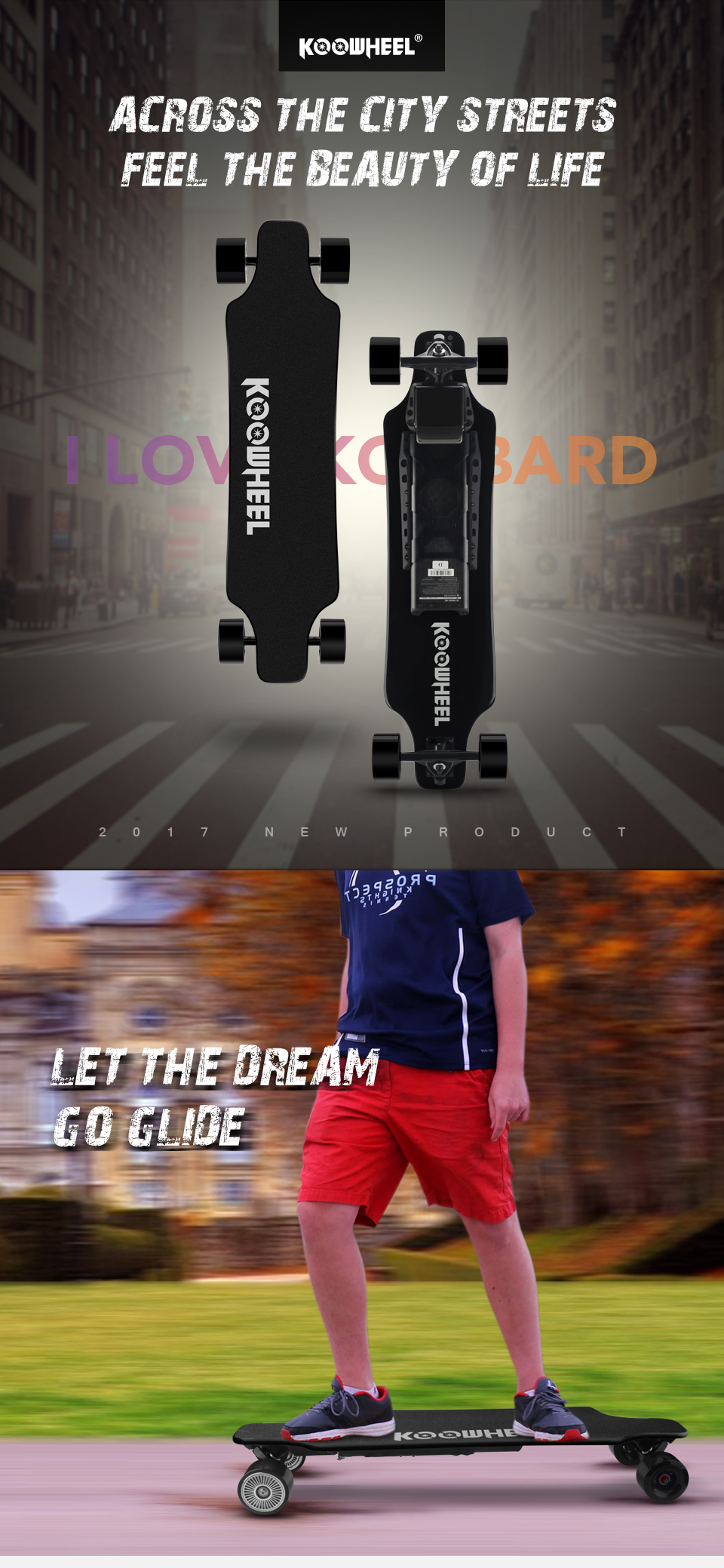 Koowheel Longboard Newest D3M+ Electric Skateboard 4 wheels Electric Hoverboard with Updated Remote Controller and Hub Motor (3)
