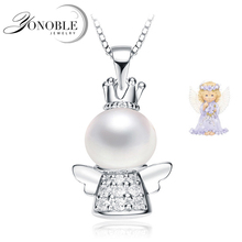 YouNoble beautiful freshwater pearl pendant silver 925,natural pearl pendant angel wing necklace jewelry engagement gift white(China)