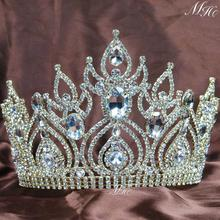 Gorgeous Large Tiaras Wedding Bridal Crowns Gold Clear Rhinestones Crystal Brides Headband Pageant Party Hair Accesories(China)