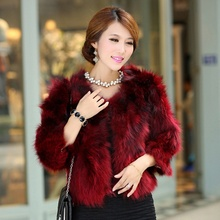 2015 Spring Autumn Women's Genuine real fur coat for women raccoon fur jacket Lady Short Outerwear Coats black wine color warm