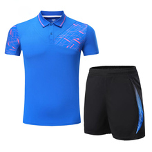 Men Running Set Sportswear Suit Badminton Table Tennis Shirt Clothes Golf Shirt Men Sportwear Polo Shirt shorts Tennis Clothing(China)