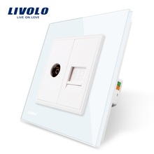 Manufacture Livolo, White Crystal Glass Panel, 2 Gangs Wall Computer and TV Socket / Outlet VL-C791VC-11, Without Plug adapter(China)