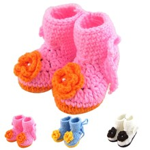 1 Pair High Quality Baby Girl Winter Snow Boots Crochet Knit Fleece Baby shoes 2017 Winter Warm First Walkers #ES(China)