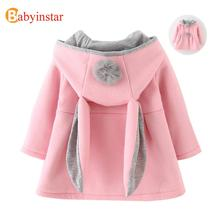 Cute Rabbit Ear Hooded Baby Girls Coat New Autumn Tops Kids Warm Jacket Outerwear & Coat Children Clothing Baby Wear Girl Coats(China)
