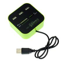 Factory Price New 3 Port HUB+USB 2.0 Memory Card Reader Combo For PC Laptop 51228 Drop Shipping